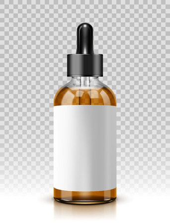 Vector illustration of glass bottle with pipe dropper isolated on transparent background.