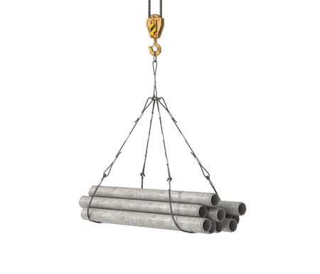 concrete pipes on crane 3d illustration Stock Photo
