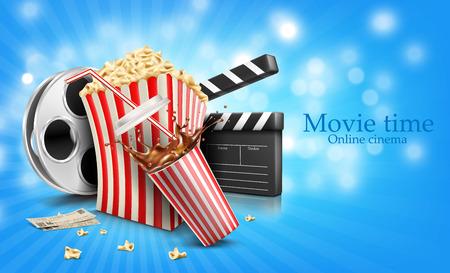 glass of cola splash, popcorn and film