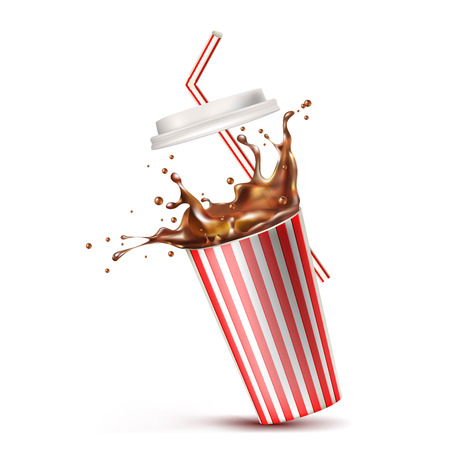 glass of cola splash. Vector illustration