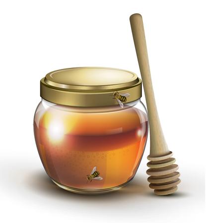 Honey jar and honey stick on a white background Иллюстрация