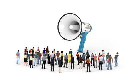 Tiny people standing around a large megaphone. 3d  illustration