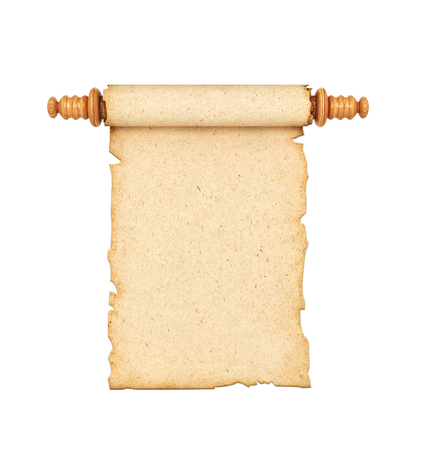 scroll, the old paper isolated on a white background. 3d illustration