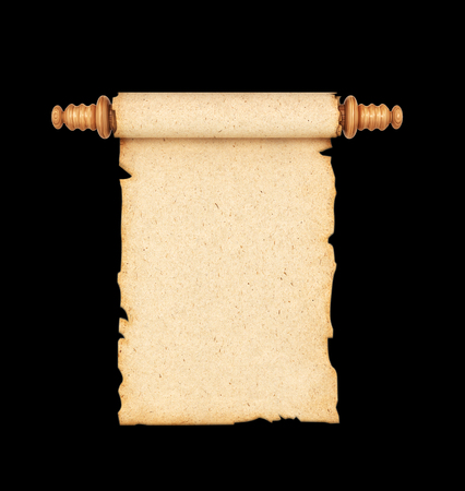 scroll, the oldparchments isolated on a black background. 3d illustration