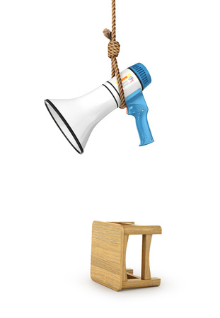 microphone is hanging on a loop. The concept of the prohibition against the word. 3d illustration