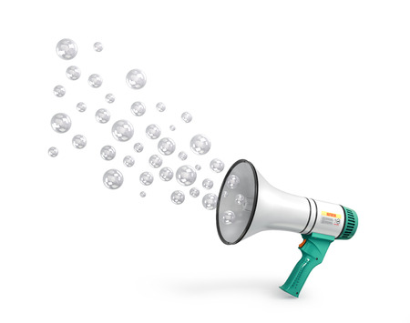 concept of deception and fraud. loudspeaker from which soap bubbles emerge. 3d illustration Stock Photo
