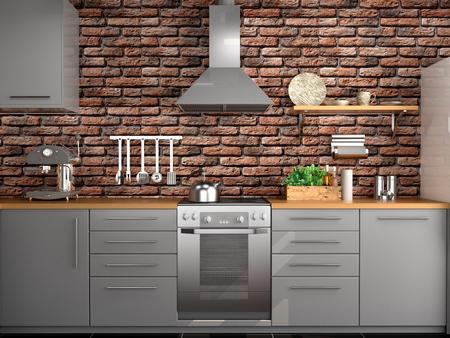 kitchen design in loft style. 3d illustration