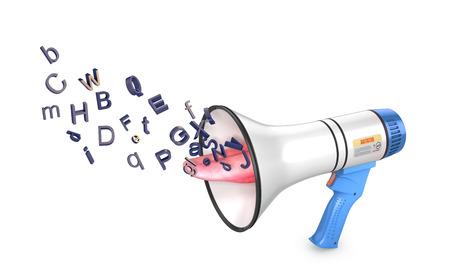 Concept freedom of speech, loudspeaker from which vyletayut bkuvi. 3d illustration Фото со стока