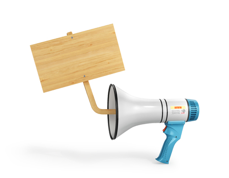 concept of propaganda, a loudspeaker from which is seen a wooden sign for advertising. 3d illustration Фото со стока