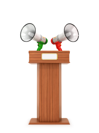 Megaphone loudspeaker Stand Tribune speech. 3d illustration
