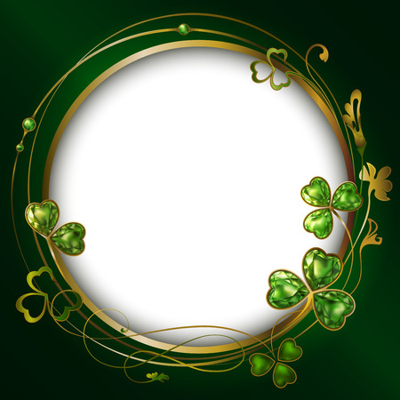 Frame Clover Round Clover. Jewelry. Bijou. Vector . St. Patricks Day