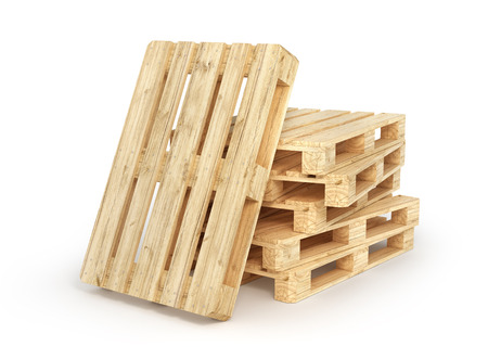 Stack of wood pallets isolated on a white. 3d illustration Stock Photo
