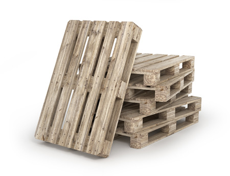 Stack of wood pallets isolated on a white. 3d illustration Фото со стока