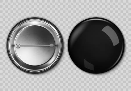 Blank black button badge, vector realistic illustration isolated on transparent background