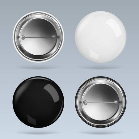 Set of black and white round badge, vector realistic illustration Ilustração
