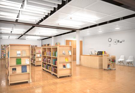 Book store interior. 3d illustration