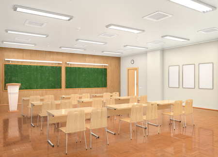 School classroom interior. 3d illustration Foto de archivo