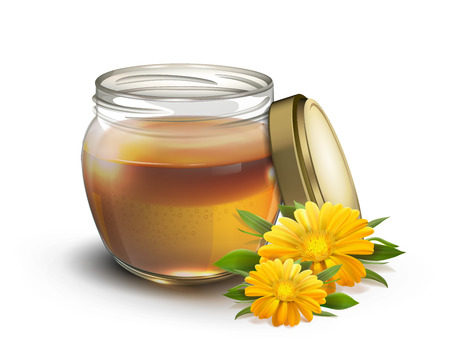 Honey in a jar and flowers on a white background