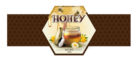 Label for honey on white background. Stok Fotoğraf - 97853124