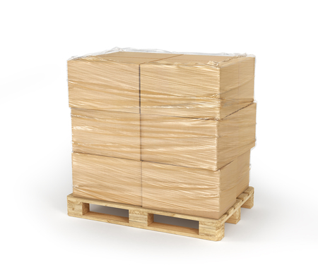 Cardboard boxes wrapped polyethylene on wooden pallet isolated on white background. 3d illustration Stock Photo