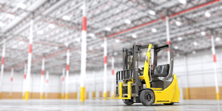 Modern forklift on a blurred warehouse background. 3d illustration Фото со стока