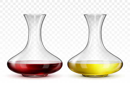 Glass decanter with red wine and decanter with white wine, on transparent background. Illustration