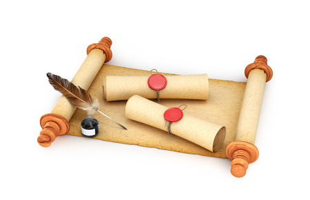 Parchment, scrolls, rolls of paper with a seal and ink with a pen, isolated on a white background. 3d illustration Stock Photo