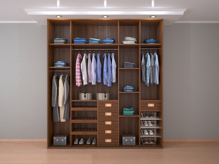 wooden men's outdoor wardrobe. 3d illustration