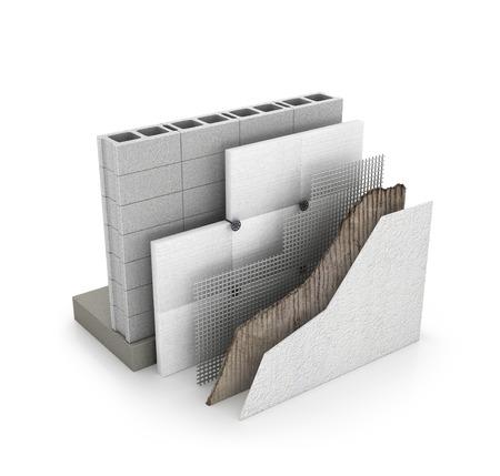 Warming, insulation of walls. 3d illustration