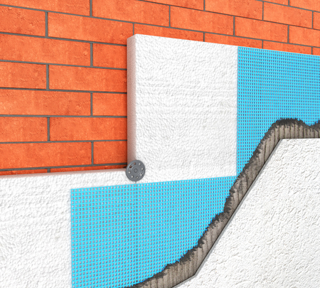 Detail of Thermal insulation of a brick wall with polyurethane panels on a white background - 3d illustration Stock Photo