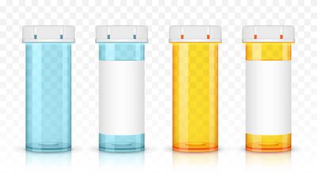 Set of empty prescription medicine bottles. Isolated on transparent background.