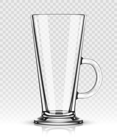 Empty latte glass isolated on transparent background Illustration