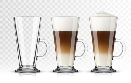 Set di latte macchiato di vetro su sfondo trasparente