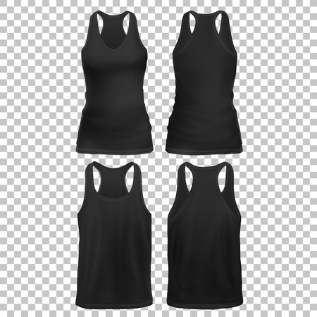 Vector Mock-up Black Set Clothes sleeveless shirt. Man Woman-02