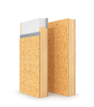 Structural insulated panel SIP. 3d illustration