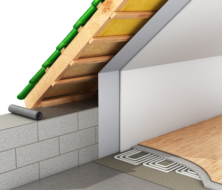 heat insulation of roofs of the house and installation of a warm floor. 3d illustration