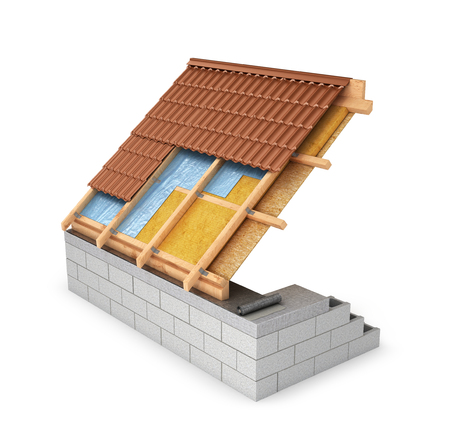 scheme of waterproofing roofs, attic. 3D illustration Stock Photo