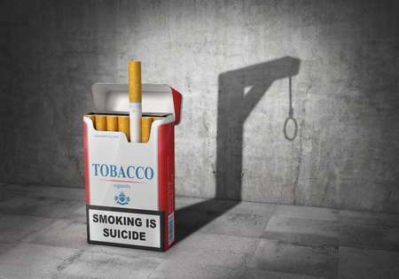 Health concept. Tobacco is suicide. Pack of cigarettes cast shadow in form of gallows. 3d illustration 写真素材