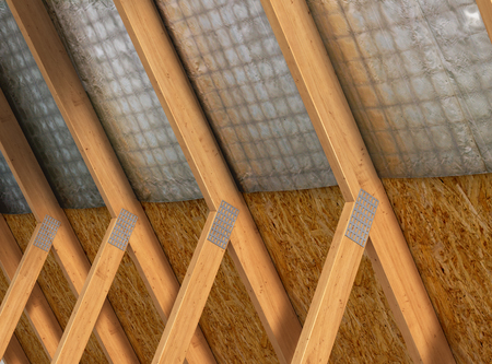 waterproofing attic, house insulation. 3d illustration 写真素材