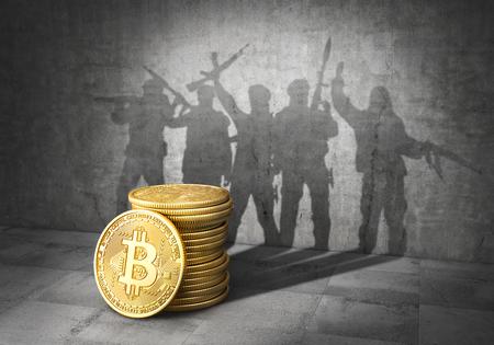 Concept de terrorisme. E-financement de la terreur. Pile de bitcoins jeté une ombre sous forme de bande de terroristes avec des armes. Illustration 3d