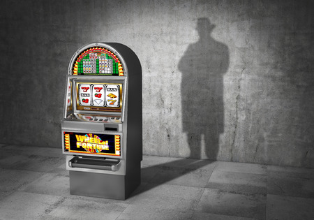 Gambling concept. Ludomania. Slot machine cast shadow in form gangster. 3d illustration 写真素材