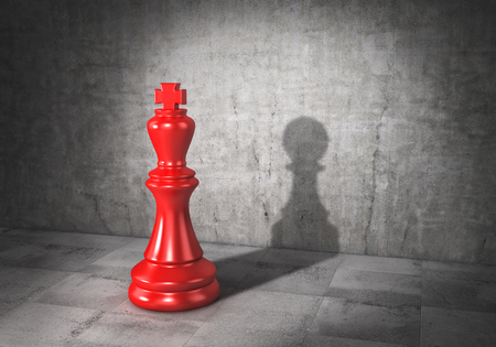 Vanity concept. King of chess cast shadow in form of pawn. 3d illustration Stok Fotoğraf