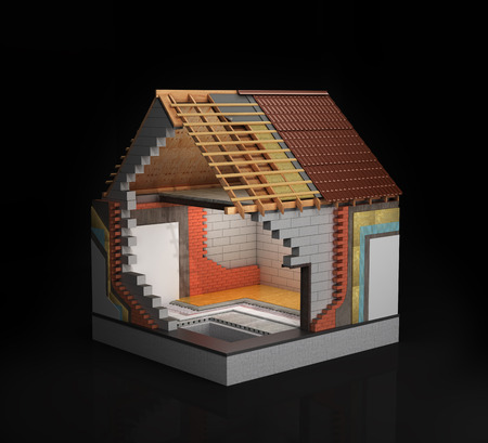 Thermal insulation, the concept of construction. 3d rendering of a house in the process of construction, isolated on a black background