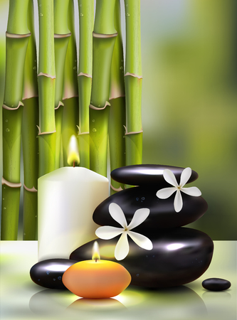 Vector illustration of a realistic style. candles on the background of bamboo shoots. Excellent green advertising poster for the spa salon. Illustration