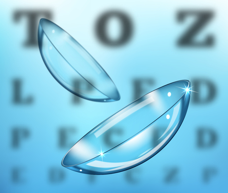 Medicine and vision concept - contact lenses on eyesight test chart background