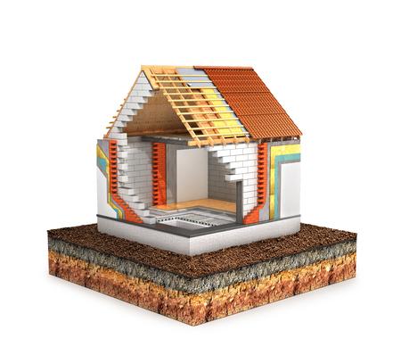 Konzept des Baus . Land , um das Haus im Bau geht . Wärmedämmung . 3D-Darstellung Standard-Bild - 99424733
