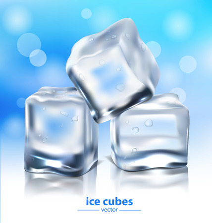 ice cubes on a blue background. vector