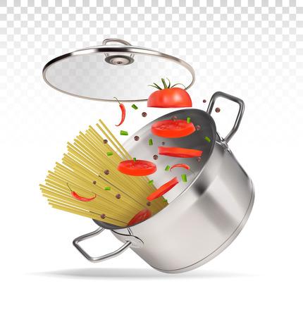 saucepan with spaghetti and tomatoes