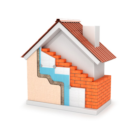 3d illustration of insulation of external walls isolated on a white background