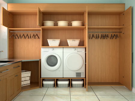 Design room for washing and cleaning. 3d illustrator 免版税图像